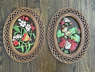 Vintage Set 2 Large Syroco 1978 Butterfly Floral Oval Faux Wicker Wall Hangings