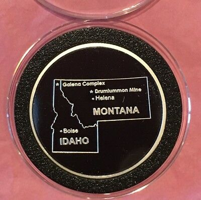 Idaho Montana Mines US Silver & Gold 1 Troy Oz .999 Fine Silver Proof Round Coin