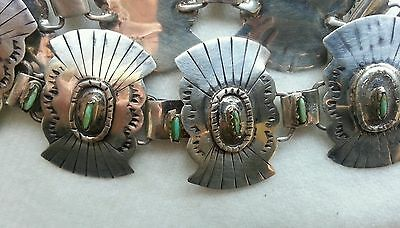 Sterling Silver Native American Needlepoint Turquoise Concho Bracelet Vintage