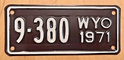 "1971 Wyoming Mint Motorcycle Cycle License Plate "" 9 380 "" Wy 71 Wyo"