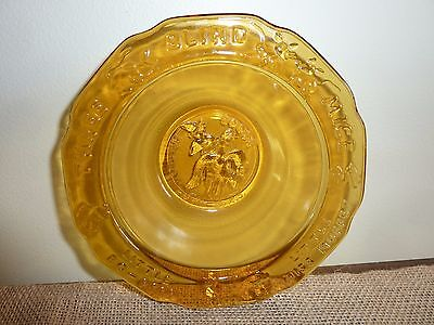 Vintage Tiara by R.S. Indiana Glass Amber Mother Goose Nursery Rhyme Childs Bowl