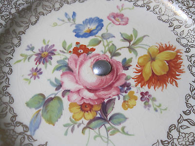 So Very Pretty Royal Winton Floral And Gilt Cake Plate On Chrome Stand