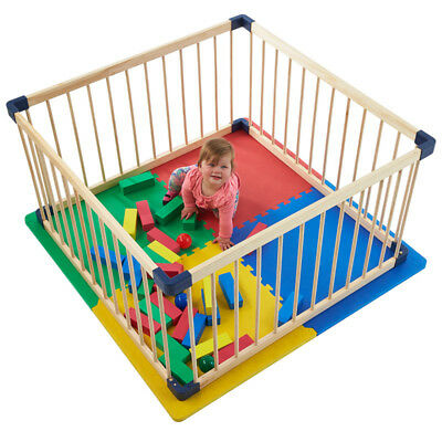 Jolly Kidz Smart Playpen Square Timber -   Natural