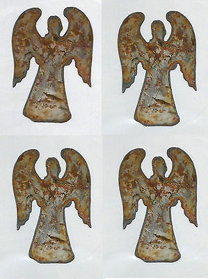 """Lot of 4 Angel w Wings Shapes 3"""" Rusty Metal Vintage Craft Sign Holiday Ornament"""