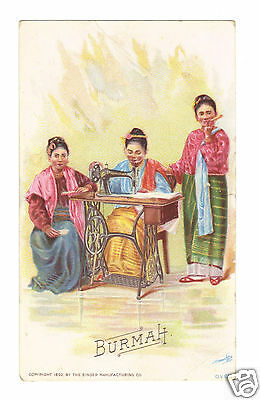 Burmah 1892 Singer Sewing Machine Trade Card - Costume of Nations Series