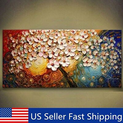 No Framed Colorful Peacock Tree Canvas Abstract Oil Painting Print Wall Decor US