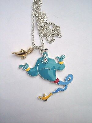 Aladdin Blue Genie Silver Necklace Chain And Gold Magic Lamp Charm In Gift Bag