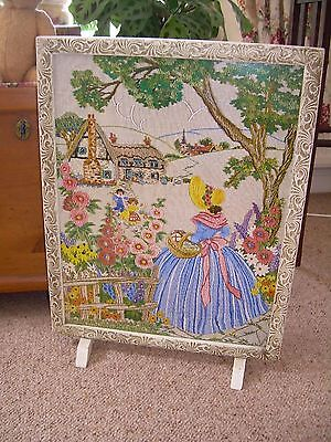 Art Deco style Firescreen+ picture of crinolined lady in cottage garden.