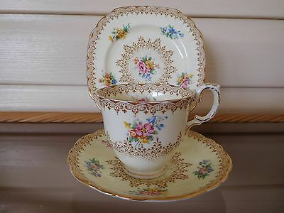 Antique Crown Staffordshire Floral Trio Made In England 1906