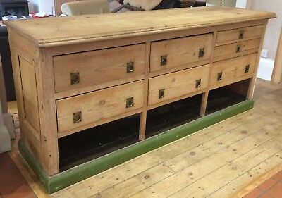 Rare Vintage Haberdashers Shop Counter Kitchen Island Drawers