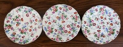 "Set of 3 - Dorset Ephila Cheery Chintz 5.75"" Bread & Butter Plates Germany VGUC"