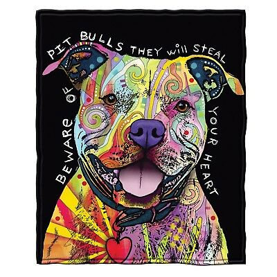 Dean Russo Beware of Pit Bulls They Will Steal Your Heart Fleece Throw Blanket