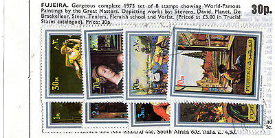 """Fujeira """"World Famous Paintings""""  Set of 8 Stamps (1973)"""