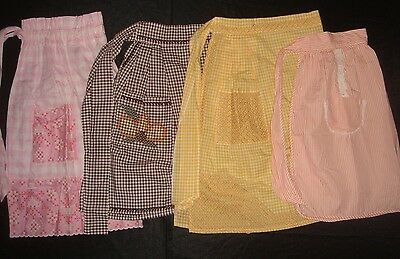 4 x Vintage Cotton Aprons HandMade Embroidery Mixed Lot Yellow Brown Pink Orange
