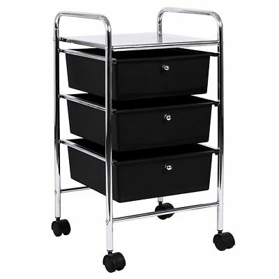 3 Drawer Trolley Black Kitchen Food Storage Tier Unit Shelves By Home Discount