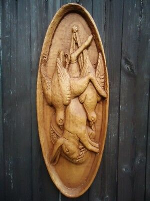 Black Forest Fine Carved Wood Game Plaque-Antlers-Wood Carving-Wall Shelf-Rabbit