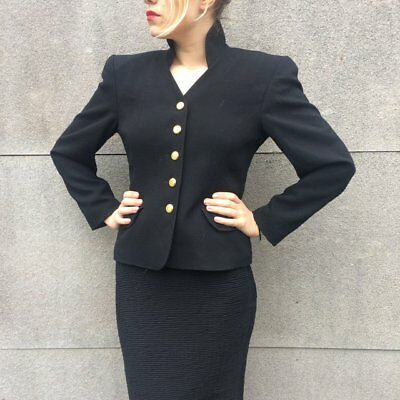 Vintage 80s Escada Black Wool Fitted Jacket Power Suit Vamp Blazer Tailored10 12