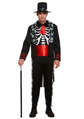 Adult Day Of The Dead Senor Costume Halloween Skeleton Suit Fancy Dress Outfit