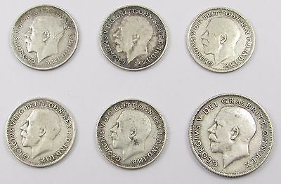 6 George V Silver Coins - 5 Threepences 1913/1916/1918/1919 (2) & Sixpence 1916