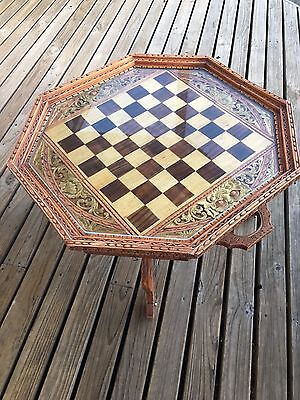 Hand Crafted Wooden Chess Set Complete, Antique Hand Crafted And Detailed