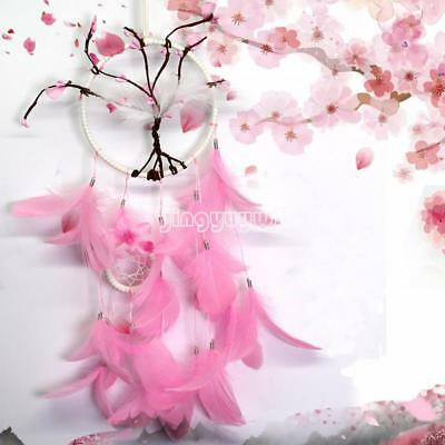 1PC Fashion Pink Dream Catcher Handmade Feathers Hanging Decor Craft Gift New