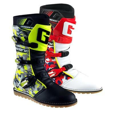 New Gaerne Balance CAMO Trials Boots in Red or Flou Yellow
