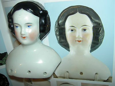 Lovely antique china doll shoulderhead, Conta & Boehme, Germany with gold snood