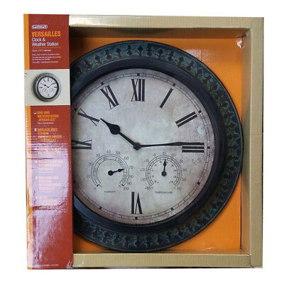Gardman New 35cm Clock Indoor Outdoor Garden With Weather Station