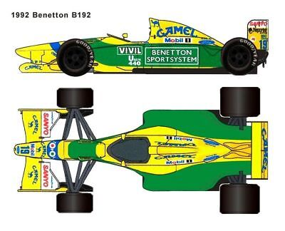 1/20 Tamiya 20036 Benetton Ford B192 Decal sticker f1 Michael Schumacher Brundle