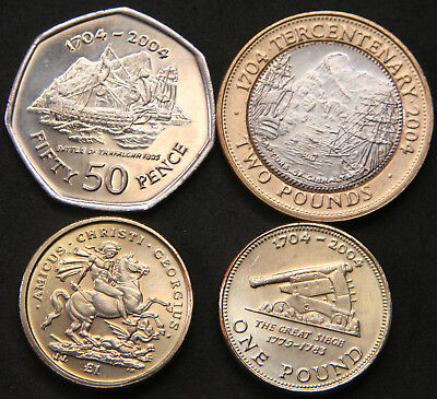 Gibraltar 50 Pence 2004, Pound 2003 & 2004, Two Pounds 2004 All UNC with Lustre.