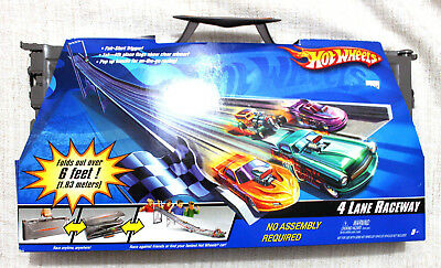 Hot Wheels 4 Lane Raceway Race Track Fold Up & Carry 6' Portable