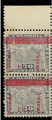 Colombia Panama Map 1906  sc 181 pair, verm. overprint shift DNW. Variety MNH