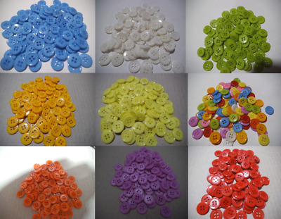 100 12mm bulk Buttons  Mix Craft sewing multi single colour Christmas