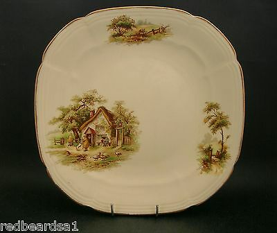 Alfred Meakin Vintage China Cake Dinner Plate Rural Scene Cottage England c1950s
