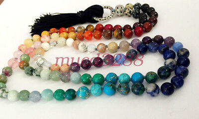 108 Stone Bead 7 Chakra Mala Rainbow Necklace or Wrap Bracelet Balancing yoga