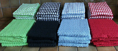 Quality 3 Pack Mono Check Tea Towels 100% Cotton Terry Large Size Absorbant