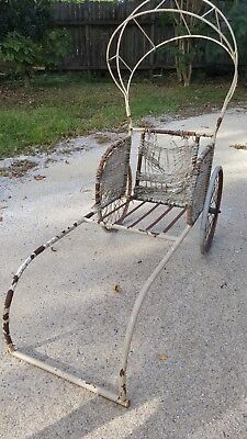 Antique Rickshaw with Canopy, all metal AWESOME PIECE, RARE