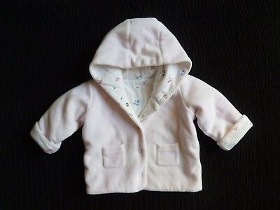 Baby clothes GIRL newborn 0-1m M&S padded pink/white velour jacket lined hood
