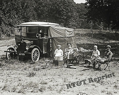 Photograph of Camper Dr. Foster & Family from Dallas Texas 1920c 8x10
