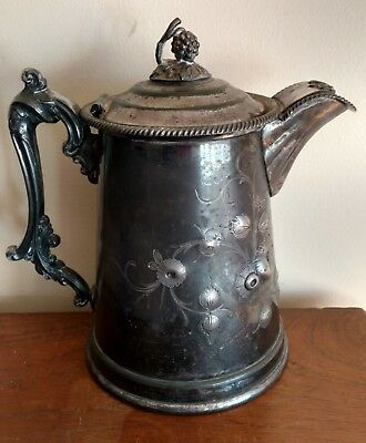 Antique MERIDEN Britannia Signed & Numbered Ornate Figural Silverplate Pitcher