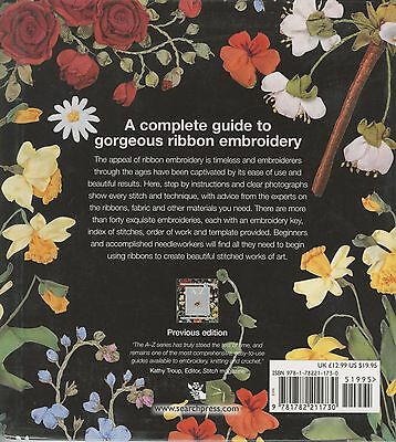 A-Z OF RIBBON EMBROIDERY WITH 40 DESIGNS SOFTCOVER BOOK, From Search Press NEW