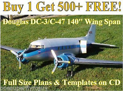 """Douglas DC-3/C-47 140"""" WS Giant Scale RC Airplane Plans & Templates on CD"""