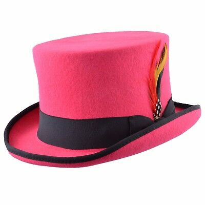 Unisex Pink/Black Wool Top Felt Hat With Removable Feather And Satin Lined