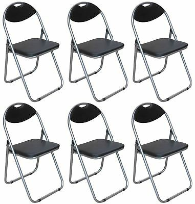 Folding Chairs Faux Leather Padded Seat Back Rest Computer Home Office Black
