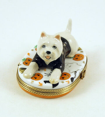 New French Limoges Box Westie Dog Puppy In Cute Outfit On Halloween Box