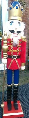 Nutcracker Soldier King Christmas Extra Large 62Cms Red With Blue Crown Bnwt