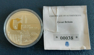 Great Britain / CU Silver Plated with Spot Gold Proof Coin / COA