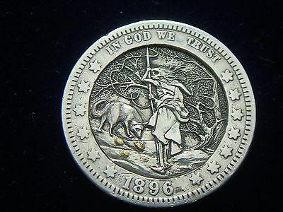1896 hobo nickel - Barber quarter silver 24K.gold inlay