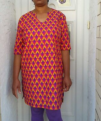 Ladies yellow & Purple  multicoloured African kaftan  size 14