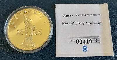 Statue of Liberty Anniversary / CU Gold Plated with Swarovski C Proof Coin / COA